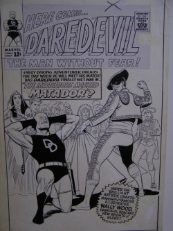 themarvelageofcomics:  Here's the cover to DAREDEVIL #5 by Wally Wood. Wood working for Marvel was such a big deal to Stan that he actually ran cover blurbs highlighting the fact on most of the books he started working on, which simply wasn't done in those days.