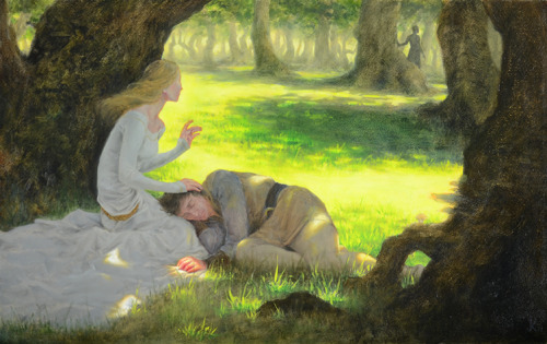 "jennathings:  Tristan and Isolde Oil on gessoed illustration board, 21""x13"" Unvarnished, and not a great photo, but done! Aaa! I am so proud of this piece it scares me a little.  Hello I am reblogging myself because I uploaded the newer, significantly better photo of the painting and I actually do want this version to get seen!"