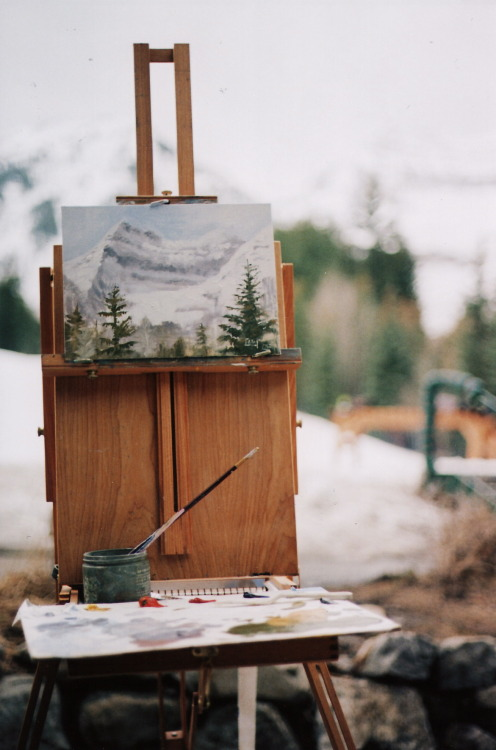 akittennamedgiles:  clairecushing:  — Painting lesson, pt. 2. Sundance, Utah. March 2012. These ladies were practicing by painting Mt. Timpanogos.  Wish I could paint like this…