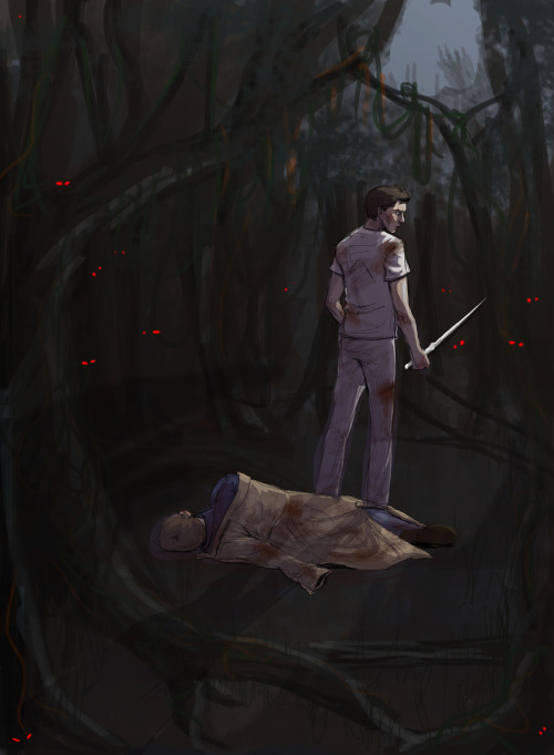 "arisprite:  Castiel guarding Dean in Purgatory  ""You don't have to—"" ""Sleep, Dean,"" commands Cas. He adjusts his grip on the angel blade, which flashes with its own light, as if it were alive. ""Don't make me force you."" Sighing irritably, Dean shuts his eyes and burrows his chin deeper into the trenchcoat. The fabric is heavy, musty. Still warm from its previous wearer. Dean inhales once, quietly, then jerks the coat down around his shoulders.   Several heartbeats go by before Dean lets himself open his eyes. But Cas has not moved. The angel is tensed, like an angry dog: chest thrust out, chin bared, every muscle in his arms flexed, alive. Cas looks even more imposing than usual, thinks Dean, which, given the tight cotton scrubs, is proof enough for him that God exists, and has a terrible sense of humor. ""You're still wearing that hospital bracelet?"" The chuckle Dean forces out sounds more like something a wounded animal might make; Cas flinches toward the noise, deep lines under his eyes.  ""Dude, how's it even still on you?"" ""I like it,"" he says softly. ""It reminds me. When I forget."" Without turning, Cas kneels and holds up his arm for Dean's inspection. His gaze falls on a line of small block letters printed neatly on the flimsy paper. ""WINCHESTER, CAS,"" he reads. For a moment, Dean can only stare, open-mouthed, at the bracelet. Then he swallows guiltily. ""Well, we had to put something."" He shrugs himself deeper into the coat to hide the flush rising in his cheeks. ""I don't think ANGEL OF THE FRIGGIN LORD would've fit in the box."" Cas stands back up and smirks out at the gloom. ""All the same.""   ""It's just a name."" Dean can't quite bring himself to add it doesn't mean anything, because he remembers that awful night at the hospital, with Sam, and Meg, and staring at what he'd written for a full minute, palms sweaty, heart in his throat, until Sam had to nudge him in the ribs and ask if he was alright. He draws a shaky breath. ""Just a name,"" he murmurs, as he did back then.   ""Adam said the same thing after he named the zebra,"" replies Cas with nostalgia so obvious Dean can't help but wince. He turns then, finally, his eyes soft and fond in the low light. ""A name is a powerful thing, Dean. You humans, you don't just name to classify. You name to remember."" His smirk evaporates, and he stares down at the blade in his hand. ""Sometimes I have trouble remembering."" At the wistful tone of Cas's voice, something ugly and jealous inside Dean snarls to life.   ""Look, it doesn't mean anything,"" he snaps. Cas looks up, face drawn. ""I suppose,"" he says coolly, ""I deserve that."" Internally, Dean kicks himself.  He rolls over, away from Cas's unyielding stare, and stares up at the starless sky. ""No, Cas, I meant—"" Dean pauses, searching for the right words before giving up and continuing anyway. ""Look, Bobby used to say, 'family don't end with blood', right? Well, it don't start with names, either, Cas. You're family. No matter what."" As the tension sags out of Cas's shoulders, Dean sighs in relief. ""Thank you,"" the angel replies, his voice no more than a whisper.   ""Don't mention it."" They share a quick smile before the angel returns to his survey of the underbrush and gloom. ""But if it's all the same to you,"" says Cas eventually, casting a quick, almost shy glance back at Dean. ""I'm going to keep wearing the bracelet. You've given me two names now,"" Cas adds, not bothering to hide his smile. ""And I intend to keep them."" ""Fine,"" chuckles Dean, pulling the old, familiar coat tight. ""Knock yourself out."""