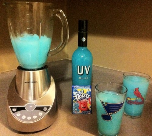 Ice Blue Raspberry Vodka Lemonade Ice Blue Raspberry Lemonade Kool-Aid Uv Blue Vodka & Ice This person is just as good at creating drinks as they are at naming them.