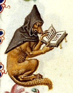 i'm a little bit obsessed w/this dog-fox reading a book in a cloak.