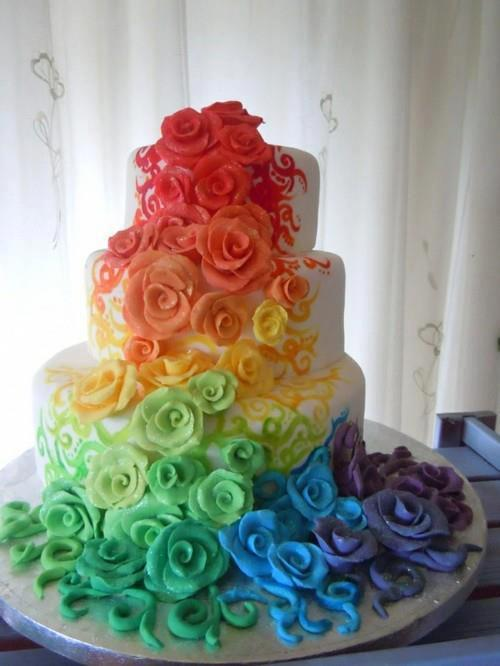 Beautiful Rainbow Wedding Cake - Marriage Equality