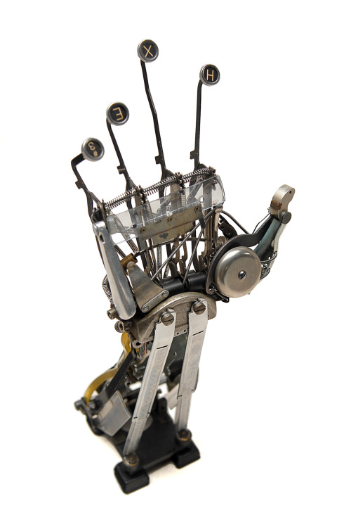 jemayer:  Better shot of the hand.  Hand IV- 2012 Typewriter parts Jeremy Mayer