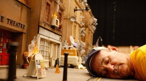 Bill Murray on set of Fantastic Mr. Fox.