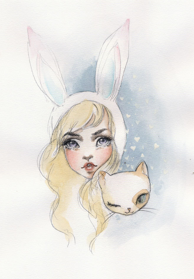 Fionna and Cake in water colors.