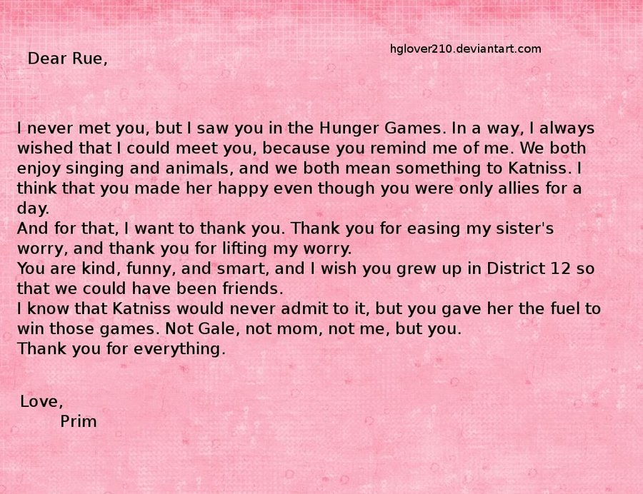 Prim's Letter to Rue by ~hglover210 Awww! So sweet!