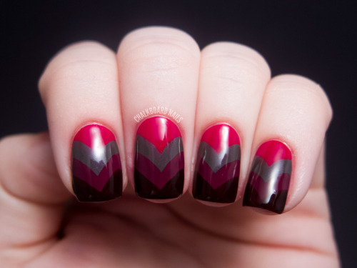 chalkboardnails:  Vampy Fishtail China Glaze Adventure Red-yChina Glaze Purr-fect PlumChina Glaze Jungle QueenChina Glaze Prey Tell