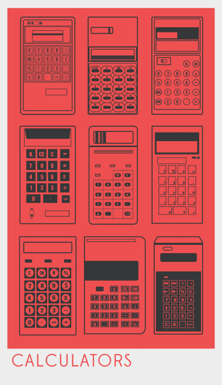 Just finished this icon poster of vintage Calculators. I had the 70s and 80s in mind and have always been fascinated by super simple electronic design.