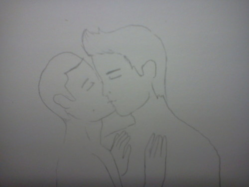 Here you go, because of the lack of Sterek in this episode and using all of my feels I actually sketched something. Derek's face is by far the best male face I've ever drawn, While I still have to work out some problems on Stile's part. For example, his right hand doesn't have a thumb. His neck is too thick, but overall I'm okay with it. When I'm done with it I want it to look like this:  http://blogs.amctv.com/mad-men/mm113-betty-don-kiss-560.jpg  Expect Derek'll be wearing a 2012 party hat thing and they'll both have some confetti.