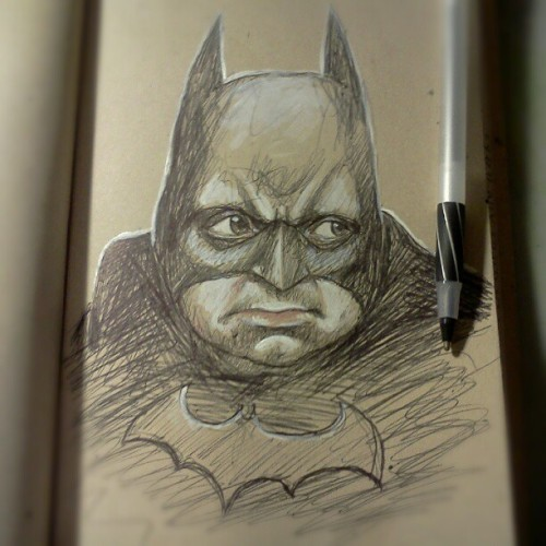 Portrait of @pattonoswalt as Batman.  #doodle #sketch #sketchbook #journal #biro #drawing #bic #portrait #comic #DC #batman #darkknight #PattonOswalt (Taken with Instagram)