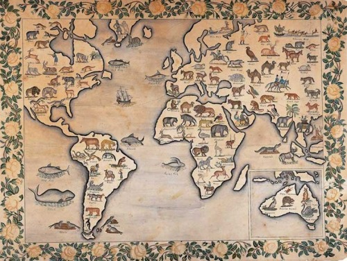 uncertaintimes:  Unknown Artist, Map of the Animal Kingdom, ca. 1835