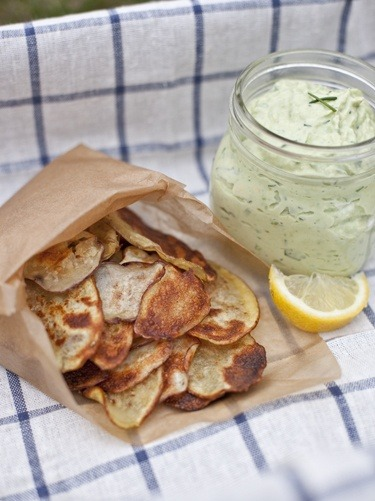 Avocado ranch dip with homemade chips