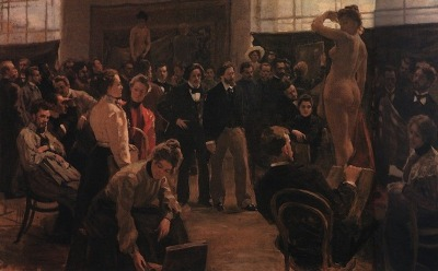 Boris Kustodiev, Statement of the model in the studio of Ilya Repin Academy of Arts, 1899