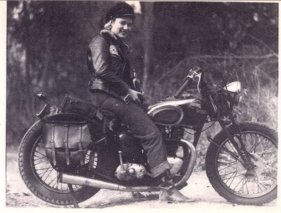 gibsart:  Lady rider with a Triumph Speed Twin