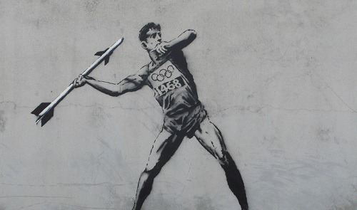 "mehreenkasana:   London Officials To Erase Banksy's Latest 'Olympic' Street Art The Guardian writes, ""The Olympic suppression of graffiti and street art is a chilling sign that instead of magnifying or rekindling the reputation London now has for outrageous art and irrepressible creativity, this corporate behemoth is cancelling out the capital's attractions and drawing attention to its weaknesses.""  Now I wonder why you would erase an accurate, bitter portrayal of your own politics."