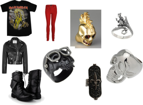 2bemyself:  rocker <3 by ilovepolyvore-448 featuring sterling silver rings  Rock t shirt / Acne leather jacket / Skinny jeans, $20 / Military boots / Alexander McQueen skull jewelry / Brass ring / Skull jewelry / Sterling silver ring