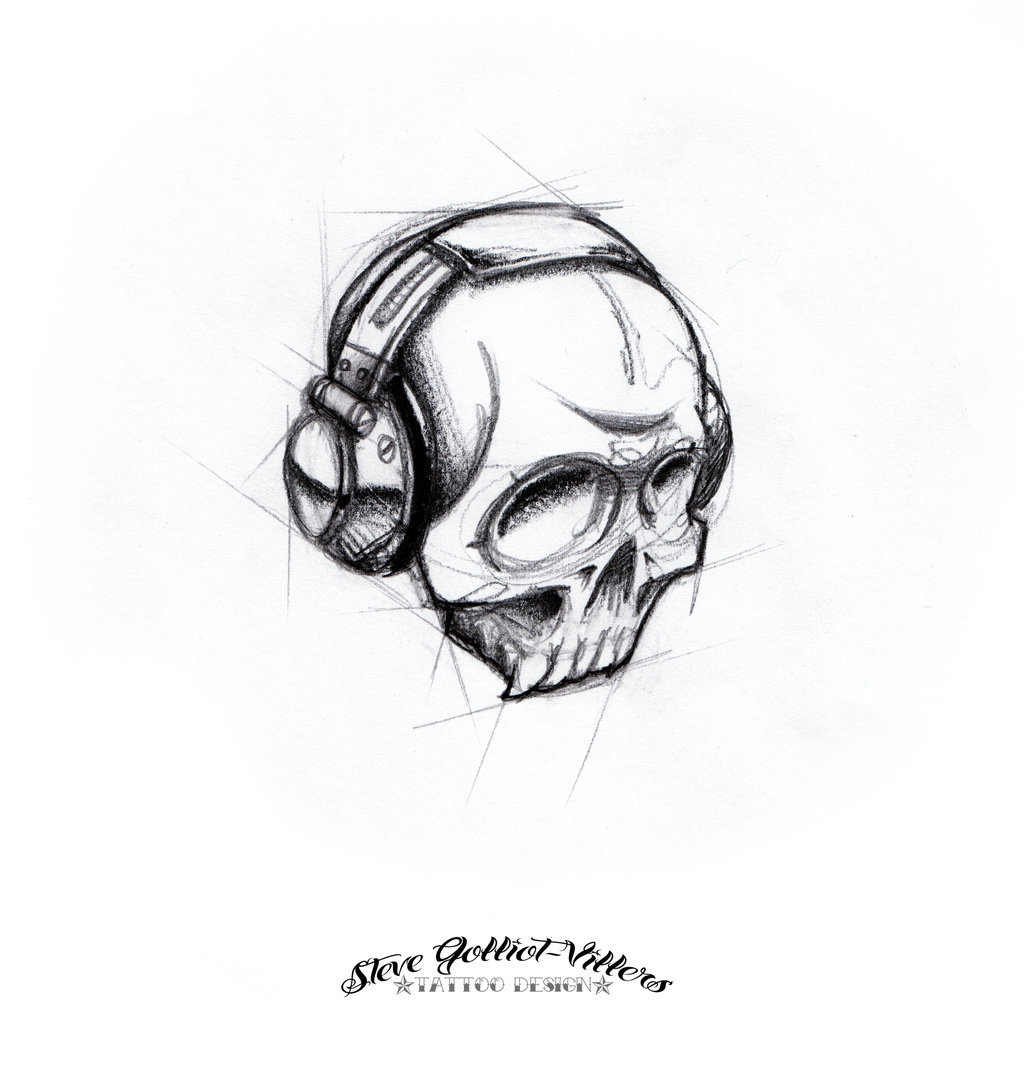 Skull Dj, tattoo design I did.
