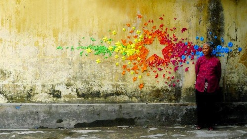 cjwho:  Urban Origami Murals in Vietnam, Hong Kong and France