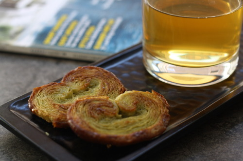 Matcha palmiers with cold infused green tea at Lahloo Pantry