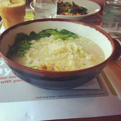 I went to Wagamama for the first time yesterday! I had chicken ramen, dumplings and a trio of cheesecakes! (cherry & pistachio, white chocolate & ginger, chocolate & wasabi) the dessert was definitely my favourite! I don't have a photo because I devoured it in two minutes… But here's the ramen! :P
