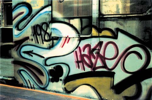 youaintpunk:  HAZE started his writing career in 1972 on the streets of Manhattan's Upper West Side. He quickly graduated to the subway, starting off on the number 1 (Broadway) and 3 lines, writing with crews like RTW and the SOUL ARTISTS. By the late 1970s his works were a common site on these lines. Having established himself locally, he set off to conquer new ground. He and fellow RTW members expanded to the IND and BMT subway divisions, on which they made their most concentrated bombing efforts during the early 1980s. HAZE developed unique letter forms and an extremely distinguished hand style. This type of attention to his craft would prove to be an excellent foundation for the next step in his evolution as an artist.  Though HAZE experienced success in the gallery scene along side the likes of KENNY SCHARF, KEITH HARING and others he opted for something for which he held more passion; graphic design.