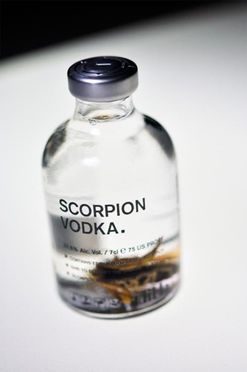 Edible - Scorpion Vodka 70ml, 75 US proof. Said to detoxify the system. Scorpion imparts a smoothness in vodka.
