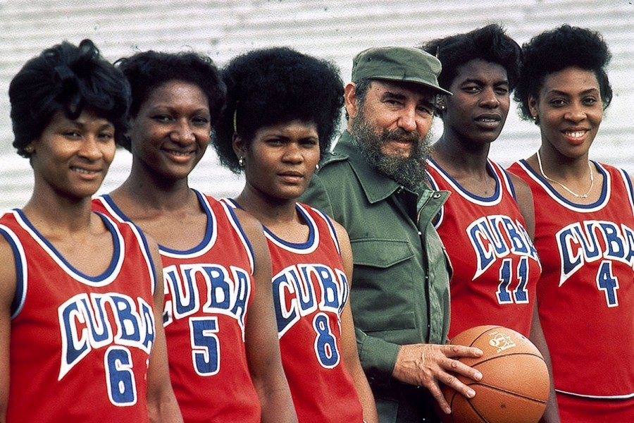 Fidel Castro poses with the Cuban women's basketball team in Havana. Neil Leifer spent a year traversing the globe to photograph athletes for TIME's 1984 Olympics special issue. From the plains of Kenya to Russia's Red Square to The Great Wall of China, Leifer used grand backdrops to photograph the athletic stars of the day. See more photos here.