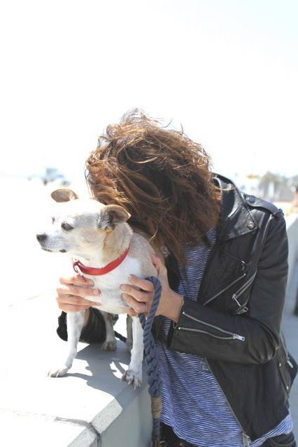 Kate Moennig with her dog Floyd 2012.
