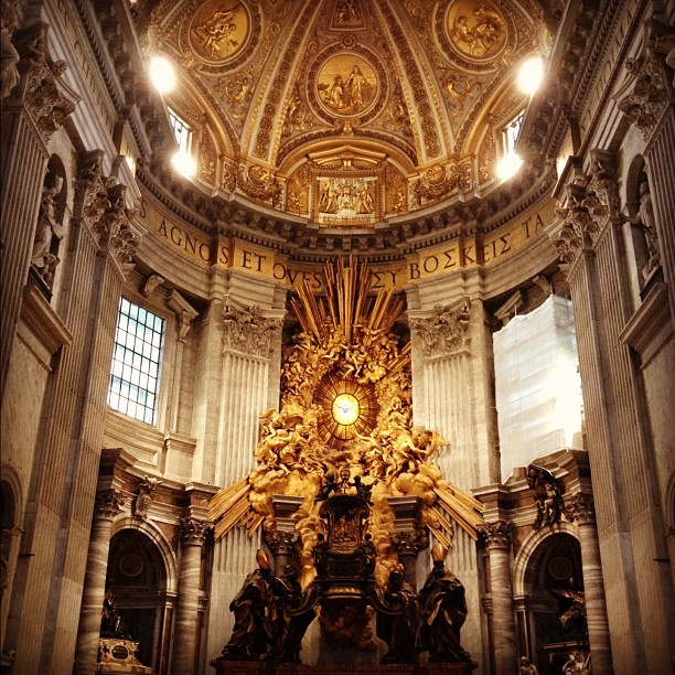 Papal throne in St. Peter's Bascillica - the sunburst is made entirely of amber. (Taken with Instagram)
