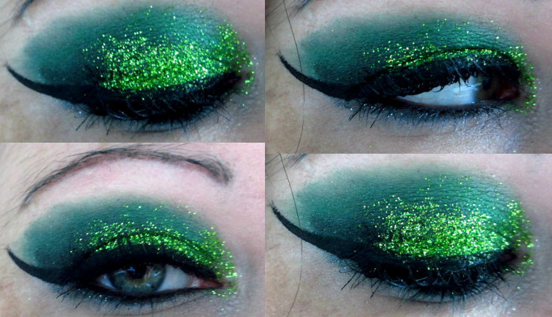 makeupftw:  Green with glitter http://ladysinn.tumblr.com/