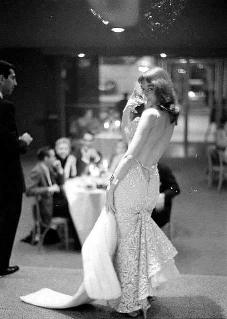 "hoodoothatvoodoo:   Glamour girl Vikki Dougan in backless evening gown, photo by Ralph Crane, 1958  Nicknamed ""The Back"" because of her dresses that were more than backless - they were cut down to just above the gluteal cleft, causing quite a commotion. The Limeliters wrote a song titled ""Vikki Dougan"" to commemorate this phenomenon, in which they sing of her ""callipygian cleft"" (""callipygian"" meaning ""having shapely buttocks"") and beg her, ""Vikki, turn your back on me""."
