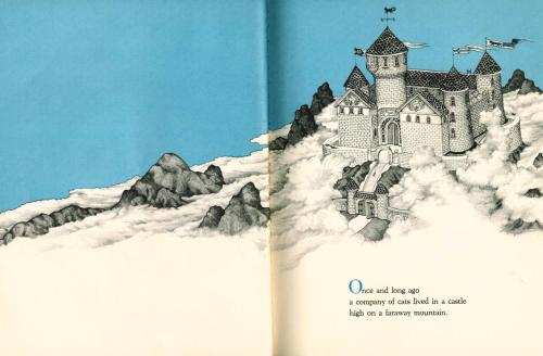 In the Castle of Cats by Betty Boegehold, illustrated by Jan Brett Once long ago a company of cats lived in a castle high on a faraway mountain.