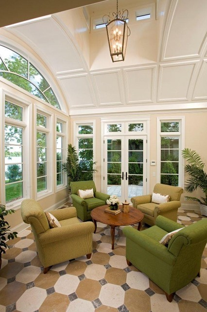 traditional living room in a sunroom