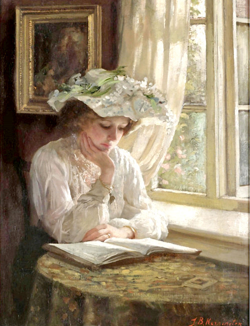 jillthejellyfish:  Lady Reading by a Window by Thomas Benjamin Kennington.