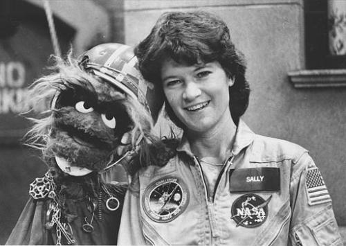 R.I.P. Dr. Sally Ride, America's first woman in space. When she was part of the 1983 Challenger crew she was also the youngest American to ever enter space. She still is.  And, she is also, apparently the only NASA astronaut to have ever been photographed with a Muppet! Go to the New York Times to read about Sally Ride's lifetime accomplishments. She was a true American trailblazer, whose death from pancreatic cancer at 61 was way too soon.