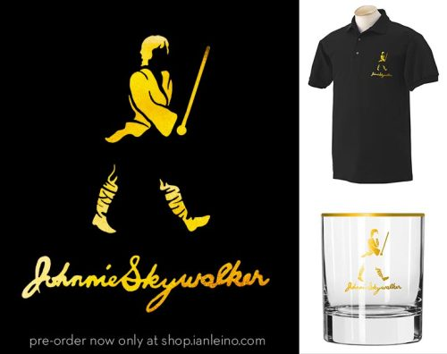 "You asked for them, and my ""Johnnie Skywalker"" polo shirts and rocks glasses are now up for preorder in my shop!  Shirts are printed with metallic gold ink, and the glasses will be printed with actual 22k gold! Help spread the word by reblogging this post, and you could win a prize pack of stickers and other goodies!"