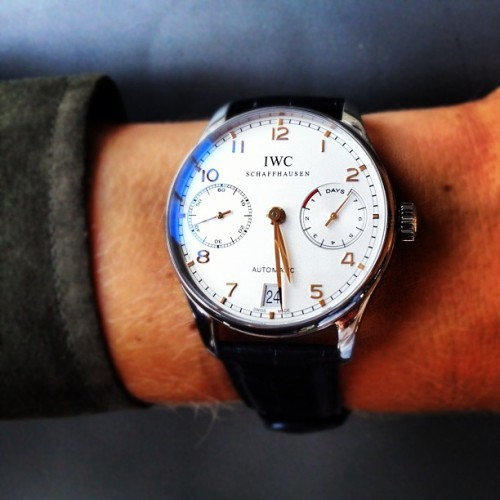 IWC Portuguese Automatic in steel with white dial. (Taken with Instagram at IWC Headquarters.)
