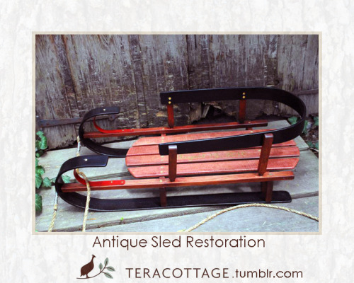 "teracottage:  ""The original sled was purchased by my friend, Dr. Jennifer Erskine when we were Yard Sale Shopping in 2011. She spotted this vintage antique children's sled, which I believe to be from around the late 1940s to early 1960s. These types of sleds were mass-produced for places like Sears, Woolworths, Macy's and other similar stores. The wood in the original sled was mid-grade Red Oak with pine boards for the sled body. Maple was used for the skis and curved back band board. When Jen had purchased the sled, it was obvious that some repairs were needed, and Jen asked me if I would take it home and do the honors.  Sometime later, I received an invitation: Jennifer's son was having his first birthday party! Not having children of my own, I always enjoyed my time with Jen's son, Thomas. Holding a baby brought wonderful new emotions to my surface and revealed a new side of me that I'd never known existed. I needed gift for him, and a fully restored sled; a legacy piece crafted with heart and hand, seemed like the perfect gift. The restoration began by disassembling the entire sled and creating full size templates of each piece. The lower grade wood used in the original mass production was replaced with premium woods. The maple sled skis and curved back band were in excellent condition so I kept them, stripped them of their original varnish, and painted them a charcoal black. The sled body pieces were re-made in Maple. Red Oak was used for the side rails and back-band posts. Finally, I added Thomas' name and date of birth in faux gold leaf lettering styled to match the vintage feel of the sled.  When you find the perfect gift for someone, the giver received as much or quite possibly even more joy from the token than the receiver. That was how I felt as I worked on this extremely rewarding piece. I am not sure what fueled my work more: the crafting and restoration of an heirloom piece or knowing that what I delivered to Thomas may someday be given to his own child on their first birthday."" -Keith Pyontek, owner of Teracottage"