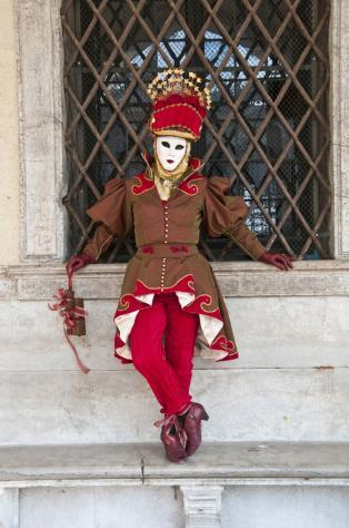 Traditional Carnival costumes in Venice, Italy.