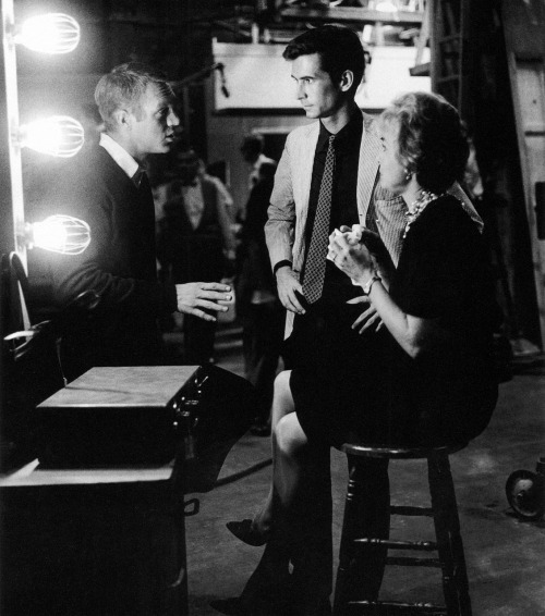 strangewood:  Steve McQueen visits Anthony Perkins and Janet Leigh on the set of Psycho.