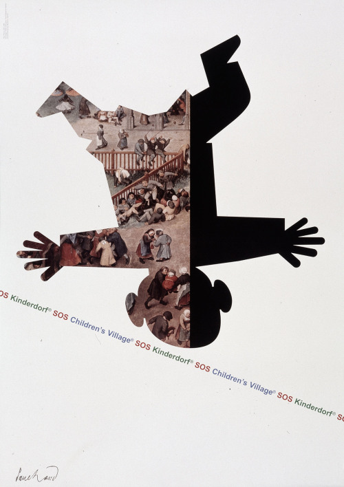 Paul Rand. Poster for SOS Children's Village. 1996 Rand's depiction of a child balancing on a textual tightrope—playful but precarious—was designed to promote SOS Children's Village, an international charity for orphaned and abandoned children. The poster, which incorporates an intriguing detail of Children's Games (1560), by Pieter Bruegel the Elder, is thought to be Rand's last work before his death. Learn more at MoMA.org/centuryofthechild