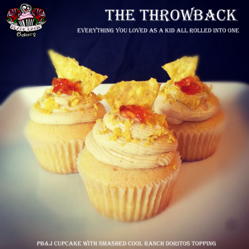 THE THROWBACK: Peanut Butter and Jelly Cupcakes with crumbled Cool Ranch Doritos on top!