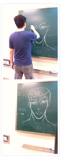 My debate coach started drawing on the chalkboard all of a sudden and conjured up Superman. They're both really awesome people.