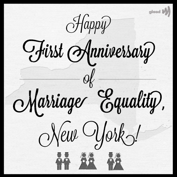 Happy first year of marriage equality, New York!