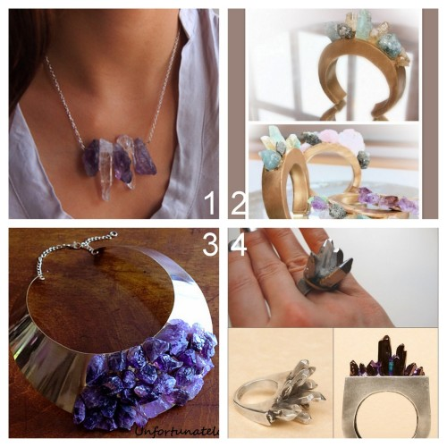 DIY Four Crystal/Amethyst Jewelry Tutorials I've posted: DIY Crystal Necklace Inspired by Chanel Fall 2012 (Because I'm Addicted) here. DIY Chanel and Pamela Love Crystal Cuffs made from polymer clay (Dream, Create) here. DIY Assad Mounser Inspired Amethyst Collar Necklace DIY from Unfortunately Oh! here. DIY Spiky Crystal Ring Inspired by Pamela Love FW11 (Transient Expression) here. For more projects using crystals go here: truebluemeandyou.tumblr.com/tagged/crystals For Chanel Knockoffs go here: truebluemeandyou.tumblr.com/tagged/chanel