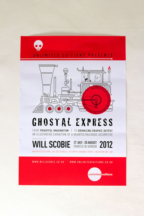 Gostal Express Exhibition is approaching, ready for a monster train ride!  For those that haven't heard, I'm putting on a new solo show in Brighton at Unlimited Editions from 30th July to 20th August.  The show will be exhibiting a new project - Gostal Express. A illustrated haunted railroad locomotive. A while back I created this project (Along the line) which then lead me to creating the Ghostal Express train. I also did an interview with Unlimited Editions which you can read here -  Unlimited Editions interview  Thanks to Parliament of Feathers for letting me screen print at their studio and Dot to Dot Printing for some excellent digital printing. Look forward to seeing you all aboard the monster train for screen prints and drawings! Facebook page.