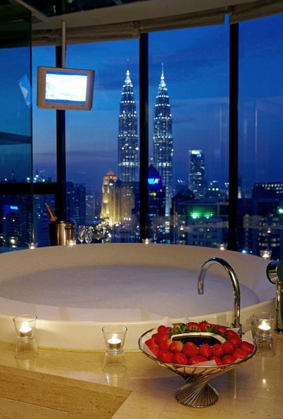 a night bath with strawberries and cityscape