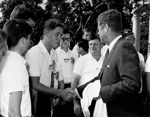 When Bill met Jack A young Bill Clinton shaking hands with President Kennedy on July 24, 1963 in the Rose Garden of the White House. He was in Washington, D.C. as a delegate from Arkansas to the Boys Nation Convention. 7/24/63 -from the Presidential Timeline