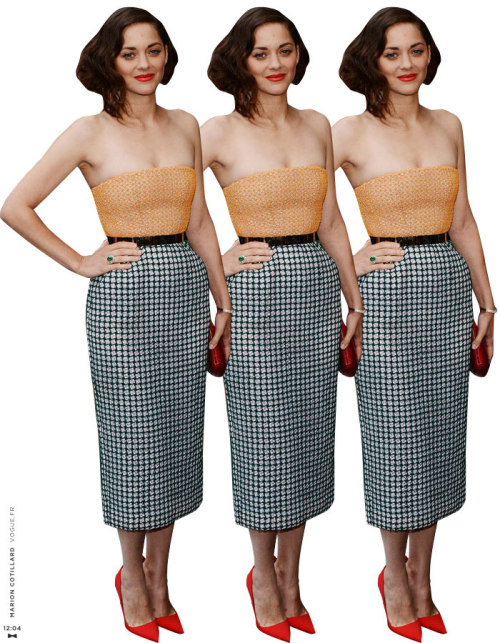 We have such the lady crush on Marion Cotillard!  Looking fab as ever… twelveofour:  Wearing Christian Dior Haute Couture » J. Crew art deco pencil skirt, Gucci belt, Manolo Blahnik BB pumps,